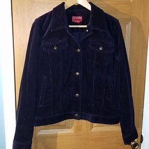 Chaps Womens Denim Purple Corduroy Jacket Sz Large